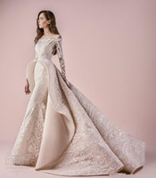 Wholesale Sexy Champagne Dress Embellishments - Middle East long sleeves off the shoulder full embellishment pepblum wedding dresses 2018 saiid kobeisy bridal a line wedding gowns