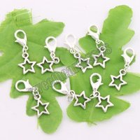 Open Star Lobster Claw Clasp Charm Beads 200pcs / lot Antiga Prata / Bronze Jóias DIY C138 10.5x24.5mm