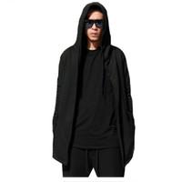 Wholesale Cloak Outerwear - Wholesale-Cardigan Cloak Hombre Fashion New Cloak Hooded Male Streetwear Hip Hop Long Hoodies Clothing Men Outerwear Cool Man H1-1899-HD07