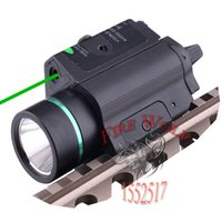 Hunting Tactical Combo Metal Green Dot Laser Sight Linterna LED 200LM 3W con 20mm rail Weaver Picatinny para Glock 17