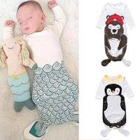 tier schlafsäcke kleinkinder großhandel-Ins Infant Baby Schlafsack Nachtwäsche Kleidung Kinder Pyjamas Kleinkind Baby Cartoon Tiere Gedruckt Schlafsack Kinder Kleidung W081