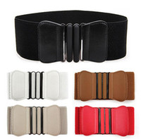 Wholesale Elastic Wide Waistband - Hot Sale Women Lady Elastic Faux Leather Buckle Waist Wide Belts Stretch Waistband Cinch Free Shipping