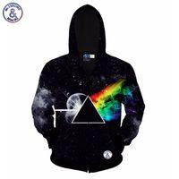 Wholesale Men Classic Hooded Jacket Hoodie - Hip Hop Classic hoodies for men 3d sweatshirt hoody print Triangle rainbow zipper galaxy autumn hat hooded jacket