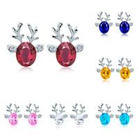 Wholesale crystal reindeer - Earrings for Women Christmas gift Cute Reindeer stud earrings made with Swarovski Elements casual jewelry accessories Crystal Stud Earring