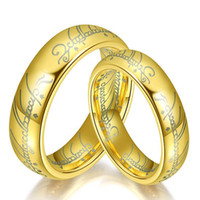 Wholesale silver lord rings wedding band resale online - Vintage The Lord of the Ring Stainless Steel men s Rings Titanium steel couple Band Rings For Gold Silver Black Fashion Rings Jewelry