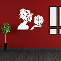 Discount Antique Silver Wall Clock   Newest 19.68H Silver Beauty Girl 3d  Mirror Wall Clock