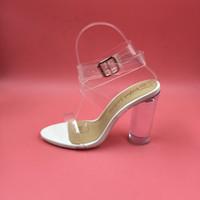 images de sandales à talons achat en gros de-Kim Kardashian PVC Femmes Sandales Sangle À La Cheville Ronde Effacer Talons Hauts 10 cm Real Images Sexy Party Sandals Plastique Transparent