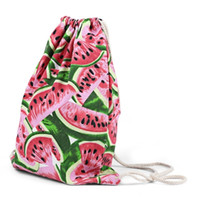 Wholesale Drawstring Canvas Backpack - Watermelon Bags storage pouch mouth beam printing canvas cotton pocket drawstring bag gift bag tea 1BZ