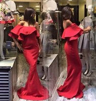 Wholesale Cheap Women Robes - Sexy Red Off Shoulder Prom Dresses Satin Mermaid Floor Length Arabic Evening Gowns Backless Cheap Robe De Soiree Women Formal Wear