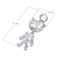 Wholesale Cadmium Jewelry - Large Cubic Zirconia Bear Keychain Copper Jewelry Accessories Platinum Plated Nickel Lead & Cadmium Free 22x10mm Hole:About 3.3mm 10PCS Lot