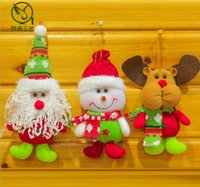 Wholesale Handmade Cloth Dolls Wholesale - 2016 Cute Handmade Christmas Tree Hanging Doll Santa Claus Deer Snowman Pendant Home Decoration christmas gift