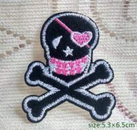 Wholesale Iron Patches Pirates - Woman Pirate Skull Crossbones biker motorcycle Iron on Embroidered patch Gift shirt bag trousers coat Vest Individuality