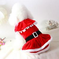 kırmızı kedi kostümleri toptan satış-2015 Yeni Varış Mrs Noel Baba Köpek Giysileri Noel Coat Giyim Pet Köpek Kedi Kırmızı Kış Elbise Noel Yeni Yıl Şenlikli Kostüm