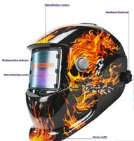 Wholesale Welders Caps - Skull Solar auto darkening MIG MMA electric welding mask helmet welder cap welding lens for welding machine