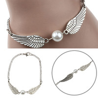 Wholesale Infinity Doves - Retro Bracelet Infinity Pearl Angel Wings Dove Peace Bracelet Chain Jewelry