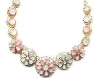 Wholesale Colorful Resin Necklace - Fresh Style Colorful Flowers Necklace Women Elegant Gold Metal Short Necklace Lady Romantic Pendant Necklace Length 45CM
