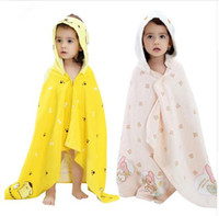 Wholesale Shower Robes - 2017 Summer Baby Cloak Baby Towel Cotton Kids Robes Pink Yellow Beach Hooded Shower New Arivals