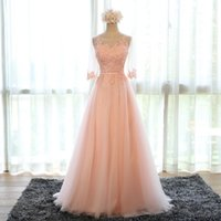 Wholesale Three Floor Sexy Dresses - Scoop Three Quarter Appliques Vestido De Festa Evening Dresses Tulle Elegant Celebrity Prom Party Gowns Dress Vestido Longo
