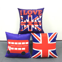 Wholesale Union Jack Flag Pillow Case - British Vintage Style Cushion Cover I Love London Bus Union Jack UK Flag Cushion Covers Home Decorative Soft Pillow Case For Car Sofa