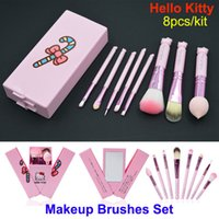 Wholesale Hello Cases - Hello Kitty Makeup Brushes Set 8pcs eyeshadow blush lip Brush Kit Pink Make up Toiletry Beauty tools + Mirror Case Birthday Cosmetic Gifts