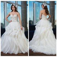 Wholesale Sweetheart Ball Gown Organza Corset - 2016 Sweetheart Beaded Crystal Ball Gown Wedding Dresses Organza Ruffles Rhinestone Corset Bridal Gowns Chapel Vestidos De Novia