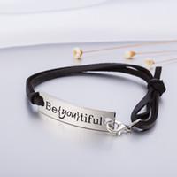 Wholesale Engraving Leather Bracelets - Hot Vintage Design Engraved Inspirational Message Beyoutiful Charm Leather Bracelet For Girl Gift