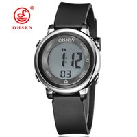 Wholesale Kids Water Cooler - Famous Brand OHSEN Kids Boys Sports Cool Digital LCD Quartz Watches 50M Diving Black Dial Silicone Strap Cartoon Running Wristwatch Gifts