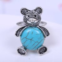 Wholesale Korean Ring Band Designs - New Fashion Rings Design Alloy Siver Plated Rings for Women Korean Panda Shaped Inlayed Turquoise Ring Free Shipping
