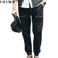 Wholesale Mens Black Spandex Pants - Wholesale-Drawstring Men Joggers Jeans Pants 98% 2016 Cotton Harem Pants Black Jeans Casual Mens Jeans S-3XL KMB0038-4.5