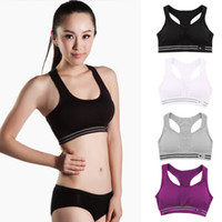 Wholesale Colorful Padded Bra - Women Cotton Stretch Athletic Vest Gym Fitness Sports Bra no rims Full Cup padded bras colorful plus size tops