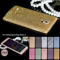 Wholesale Cell Phone Bling Stickers - Full Body Glitter Diamond Bling Sticker Cell phone Gold Stickers Back Film Case Cover For Samsung Galaxy S7 edge s6 s5 s4 Note 3 4 Cases