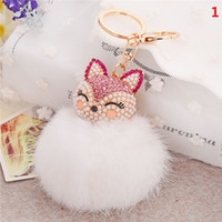 Wholesale Key Chains For Cars - 20Pcs 7 Colors lovely Genuine Leather Rabbit Fur Ball Plush Key Chain for Car Key Rings Bag Pendant Car Keychains F557