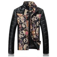 Wholesale Mens Leather Top Coat - Fall-Top Skull Clothing 2016 Luxury Brand biker mens leather jackets and coats men winter jacket chaqueta cuero hombre man coat
