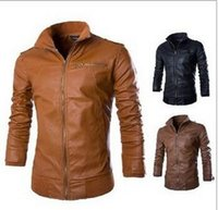 Wholesale Classic Leather Jackets For Men - Plus Size Stand Collar Men Wild Motorcycle Jacket Long Sleeve PU Leather Jacket For Men Classic Men Jacket Overcoat J160922