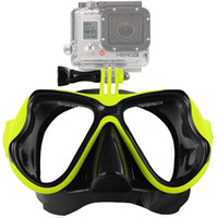 Wholesale Tempered Glass Swimming Goggles - Scuba Diving Mask Goggles Swimming Snorkeling Anti Fog Coated Tempered Glass 100% Leak-Proof Design Compatible GoPro Hero Water Sport