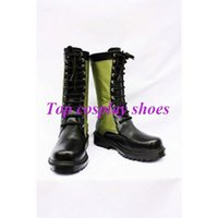 Wholesale Black Lagoon Anime - Wholesale-Freeshipping custom-made anime Black LAGOON Revy Black and Green PU Leather Cosplay Boots shoe for Halloween Christmas 020508