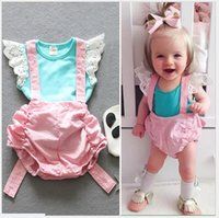 korean summer outfit wholesale 2021 - Korean Style Cute Baby Summer Clothing Sets 2016 Infant Girl Lace T-shirt Tops+Suspender Shorts PP Pants 2pcs Set Kids Suits Girls Outfits