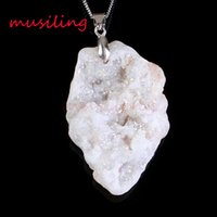 Wholesale Druzy Charms - musiling Jewelry Natural Gem Stone Pendants Necklace Chain Pendulum Crystal Geode Druzy Magic Stone Charms Fashion Men Jewelry
