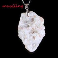 Wholesale Amethyst Pendulum Pendant - musiling Jewelry Natural Gem Stone Pendants Necklace Chain Pendulum Crystal Geode Druzy Magic Stone Charms Fashion Men Jewelry