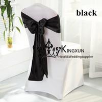 Wholesale Satin White Banquet Chair Cover - Wedding Banquet White Spandex Chair Cover With Black Color Satin Chair Sash