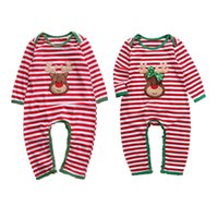xmas baby girl boy clothes pajamas outfit newborn kids christmas bodysuit striped romper rudolph reindeer 2 styles winter clothes wholesale - Wholesale Christmas Pajamas