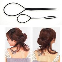 Wholesale Clip Braided Ponytails - 2 sets lot Hot Sale Chic Magic Topsy Tail Hair Braid Ponytail Styling Maker Clip Tool Black 2pcs Drop Shipping Headwear