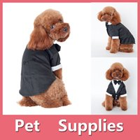 Wholesale Cool Suit Vests - Cool Pet Dog Cat Clothing Wedding Party Suit Dog Clothes Tuxedo Bow Tie Puppy Clothes Coat Size S-XXL