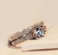 anillo de compromiso de boda de diamante real conjunto al por mayor-Al por mayor-Victoria Wieck Real Solitario 5mm Topaz simulado Diamante 925 mujeres de plata anillo de bodas Set Band de compromiso Sz 4-10