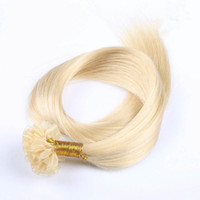 Wholesale Tip Hair Extensions 1g - Grade 8A--U tip in hair extension 100% Human Brazilian hair 1g per strand and 100s per Lot, Ombre color 1B Grey