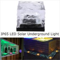 Wholesale Led Lights For Inground - 2016 New Solar LED Underground light Waterproof Solar Inground light For Garden Ice Cube Lamp LED Deck Light With Solar