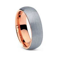 Wholesale Nice Wedding Rings For Men - Hot Selling rose gold tungsten ring wedding ring for lovers all brushed finish on the surface 8mm for men and 6mm women nice ring