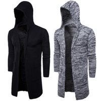 Wholesale cardigans sweaters for men - Men's Hooded Sweater Knitting Cardigan Sweater Jackets Slim Long Outerwear Lightweight Thin for Fashion