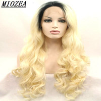 Wholesale Ash Blonde Lace Wig - Hair Long Wavy Synthetic Hair Wig Dark root omber ash blonde lace front wig heat resistant fiber For Women Wigs