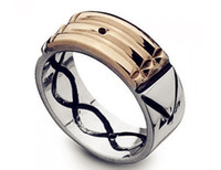 Wholesale Gold Ring S -  Seven Blessings S spinning ring with stainless steel talisman amulet atlantis ring for women men silver gold two colors